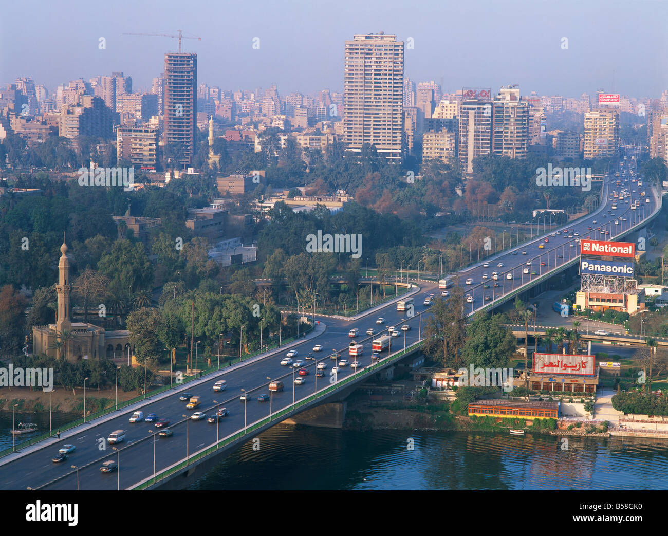 City Skyline With The 6th October Bridge Over River Nile Seen From Cairo Tower