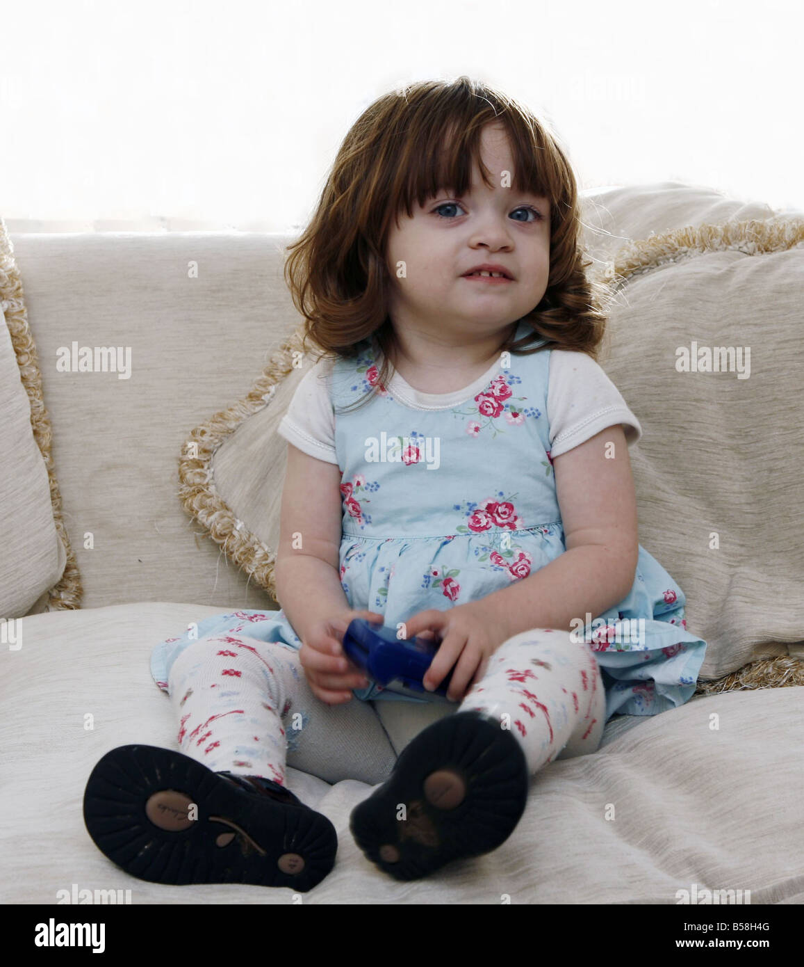 Louise and Simon Williams daughter Katie who needs a heart transplant because she was with Dilated Cardiac Myopathy - Stock Image
