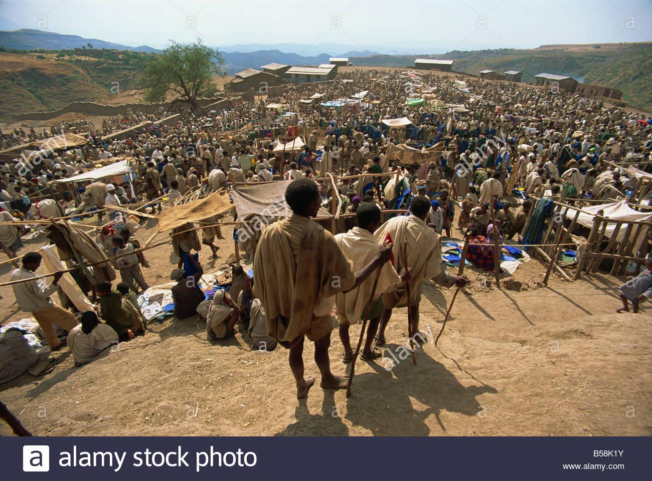 Weekly market, Lalibela, Ethiopia, Africa - Stock Image