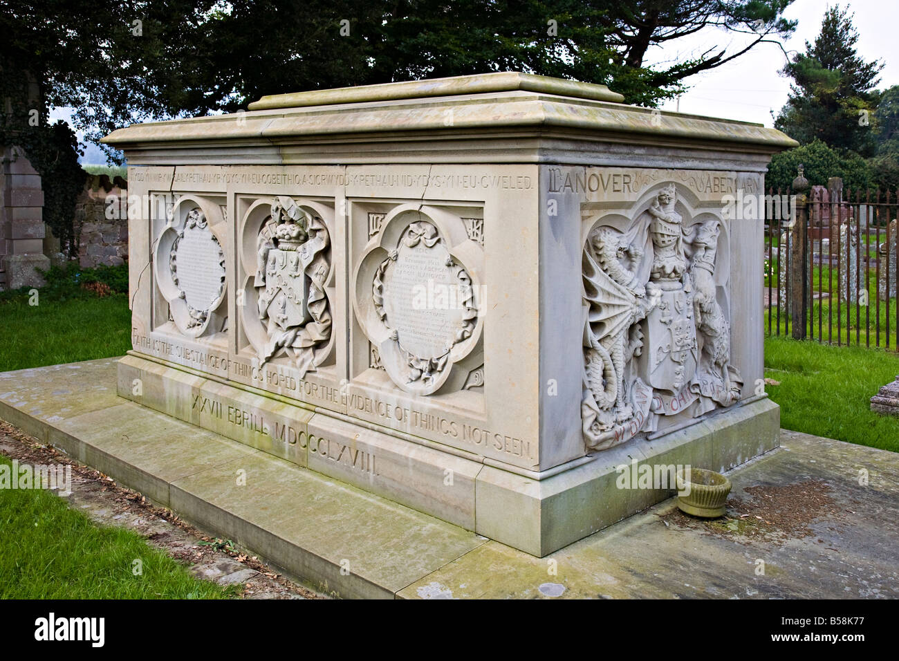 Newly renovated restored grave of Lord and Lady Llanover Wales UK - Stock Image