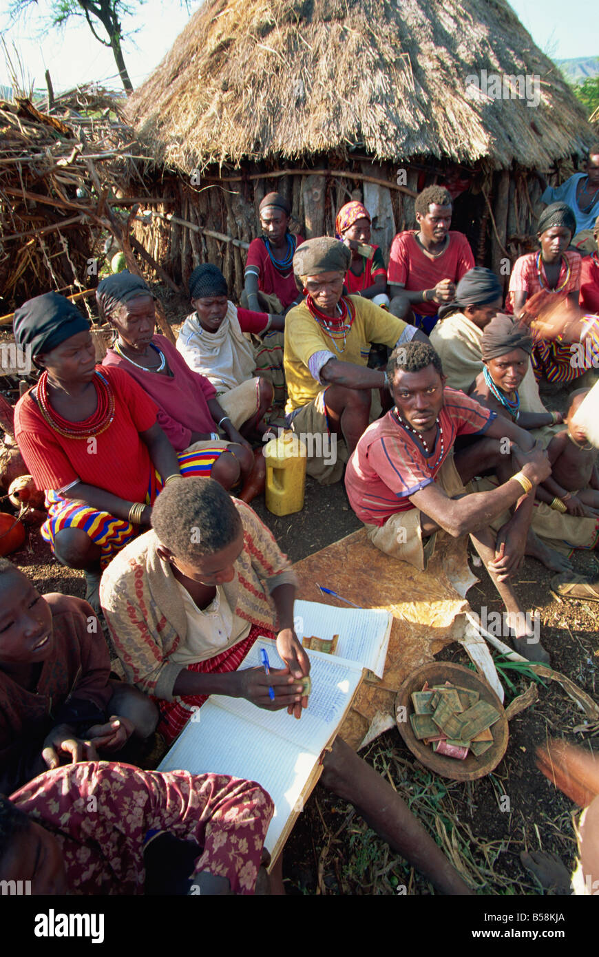 Cooperative collection of funds, Konso, Ethiopia, Africa - Stock Image