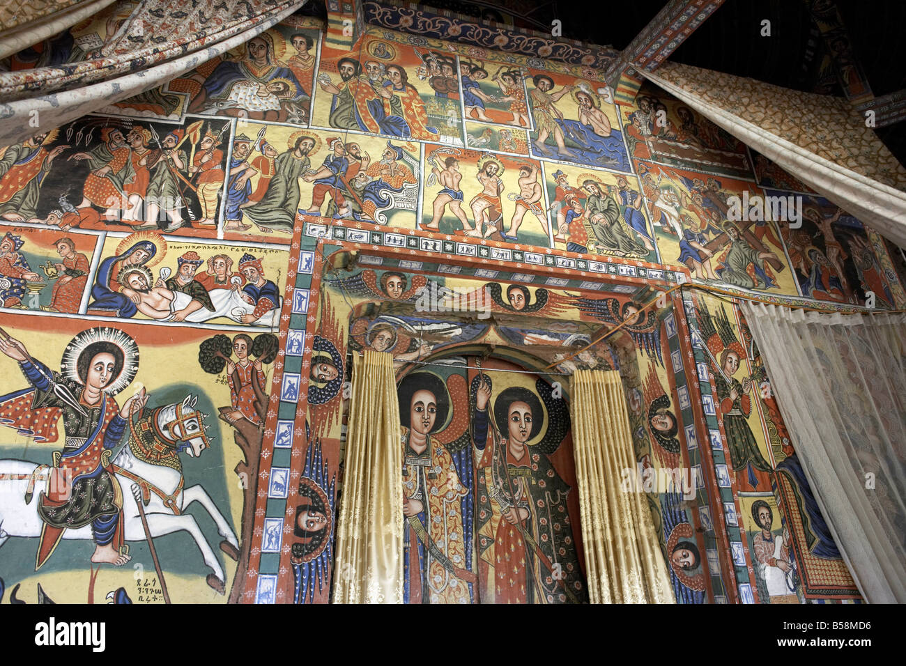 Paintings depict scenes from the Bible, on the inner sanctuary (maqdas) of the monastery of Ura Kidane Meret, Ethiopia - Stock Image