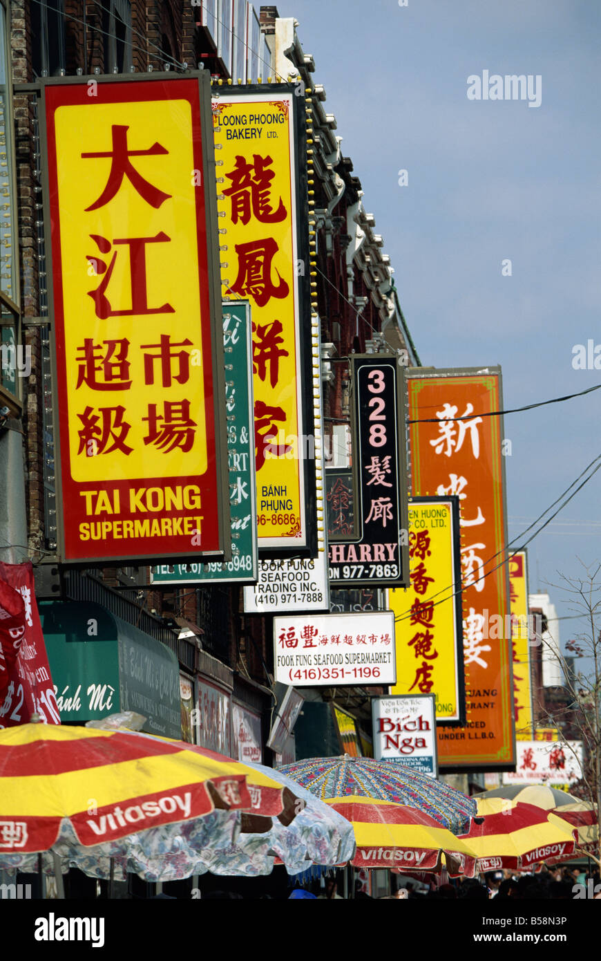 Bi-lingual Chinese and English signs on Spadina Avenue in Chinatown in downtown Toronto, Ontario, Canada, North - Stock Image