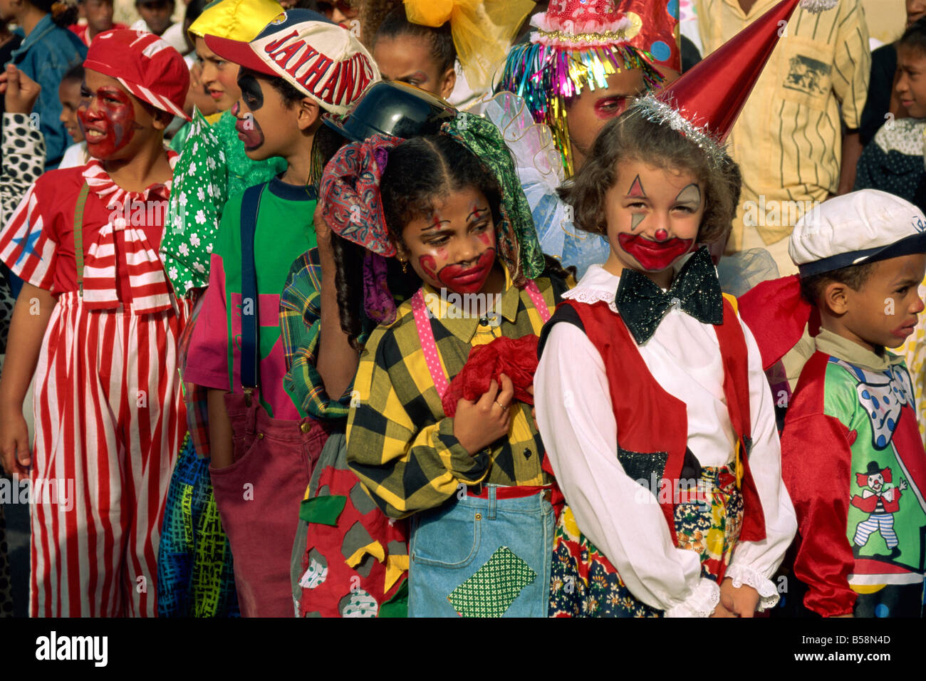 Portrait of children with painted faces during the Mardi Gras Festival in the city of Mindelo on Sao Vicente Island - Stock Image