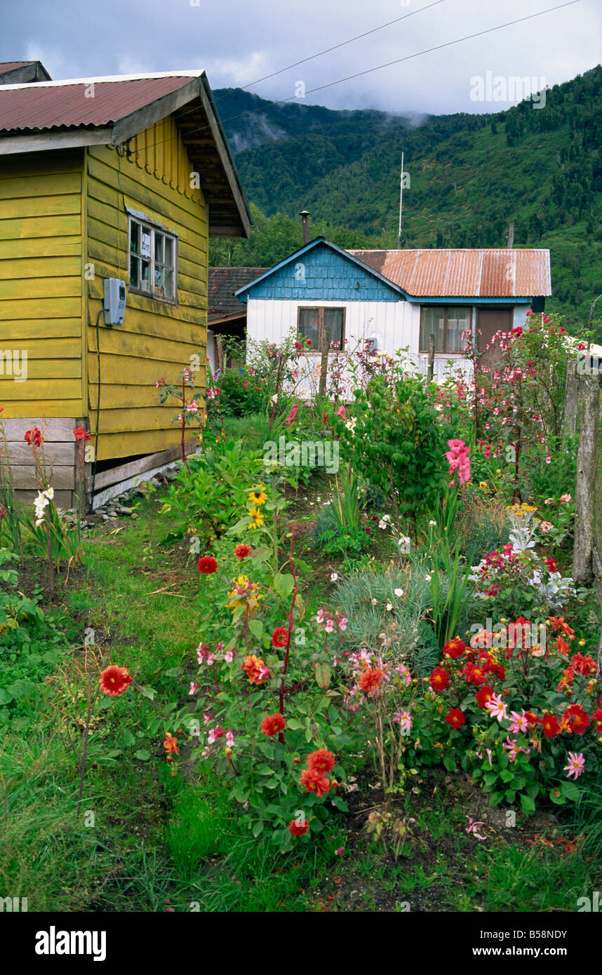 Puyuhuapi village Chilean Fjords Chile South America - Stock Image
