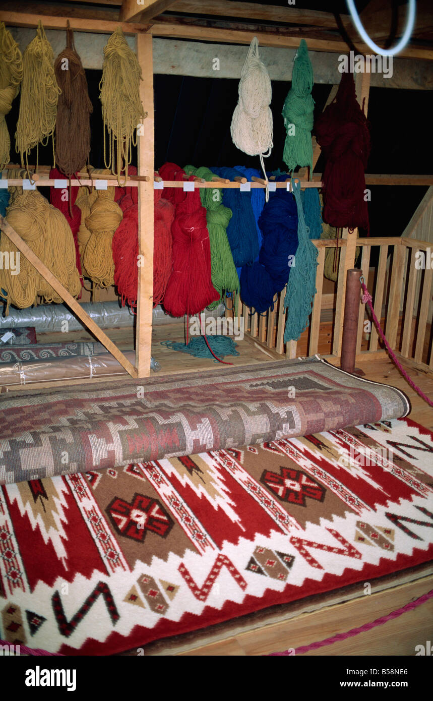 Local rug factory village of Puyuhuapi Chilean Fjords Chile South America - Stock Image