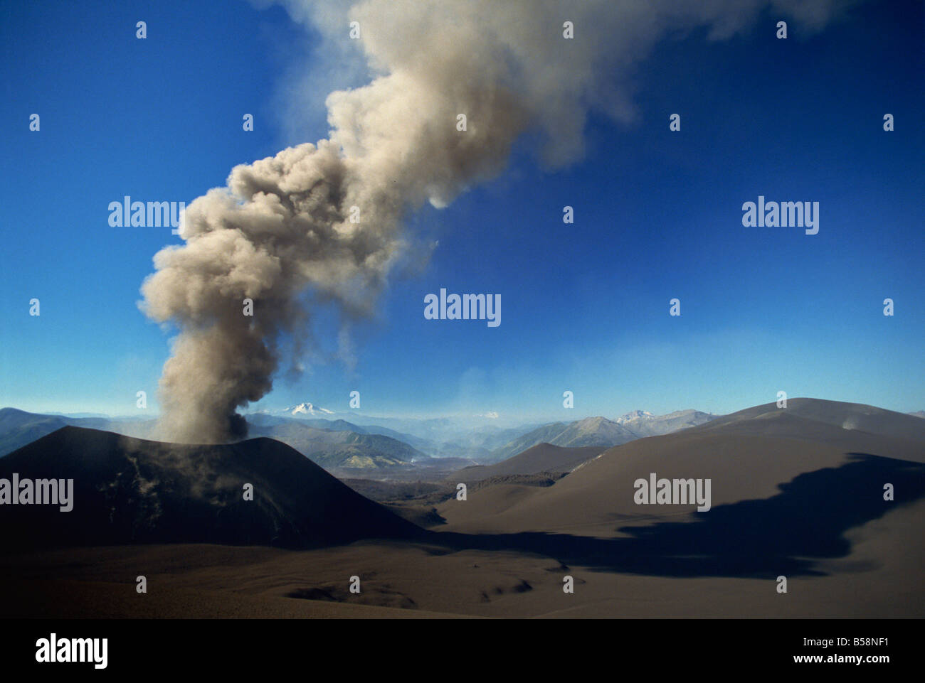 New eruptive cone on the flank of Volcan Lonquimay, Araucania region, Chile, South America - Stock Image