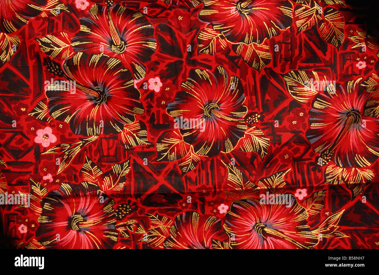 Cotton fabric on sale to tourists Fiji Pacific Islands Pacific - Stock Image