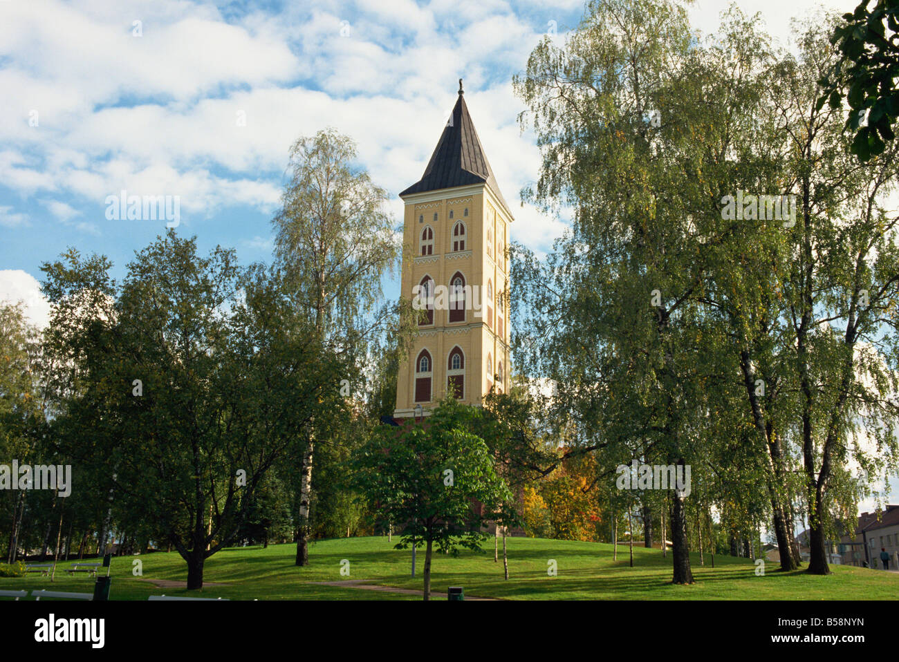 Detached belltower of Lappee Church in Central Public Park Lappeenranta Finland Scandinavia Europe - Stock Image