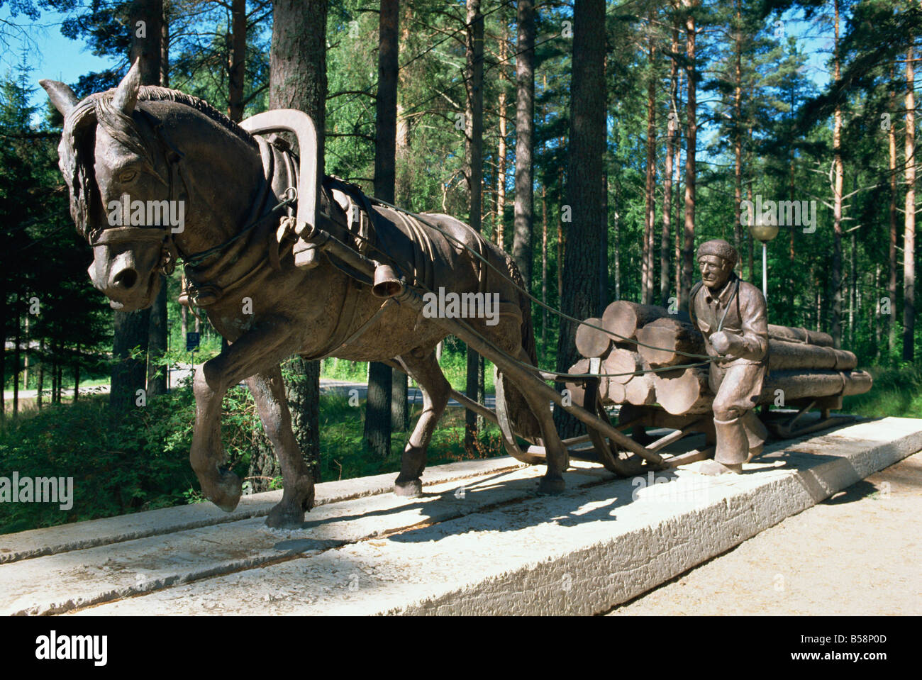 Logging as it used to be done with horses Finnish Forestry Museum Lusto Finland Scandinavia Europe - Stock Image