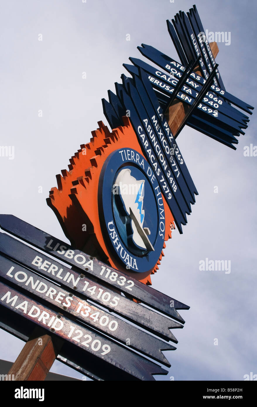A sign with the distances from Ushuaia to places around the world Ushuaia Patagonia Argentina South America - Stock Image