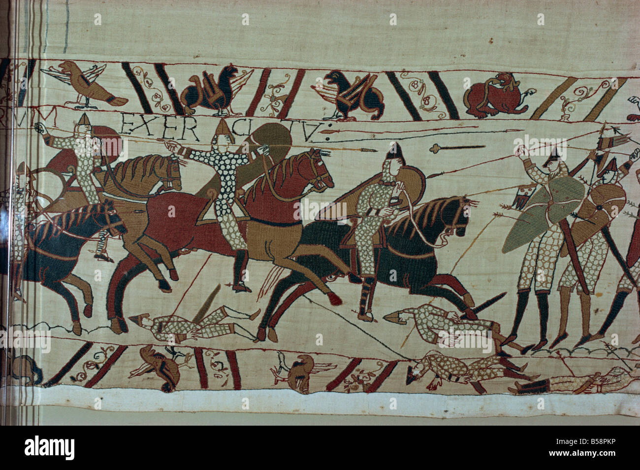Norman cavalry clashes with Harold s foot soldiers forming shield wall Bayeux Tapestry Bayeux Normandy France Europe - Stock Image