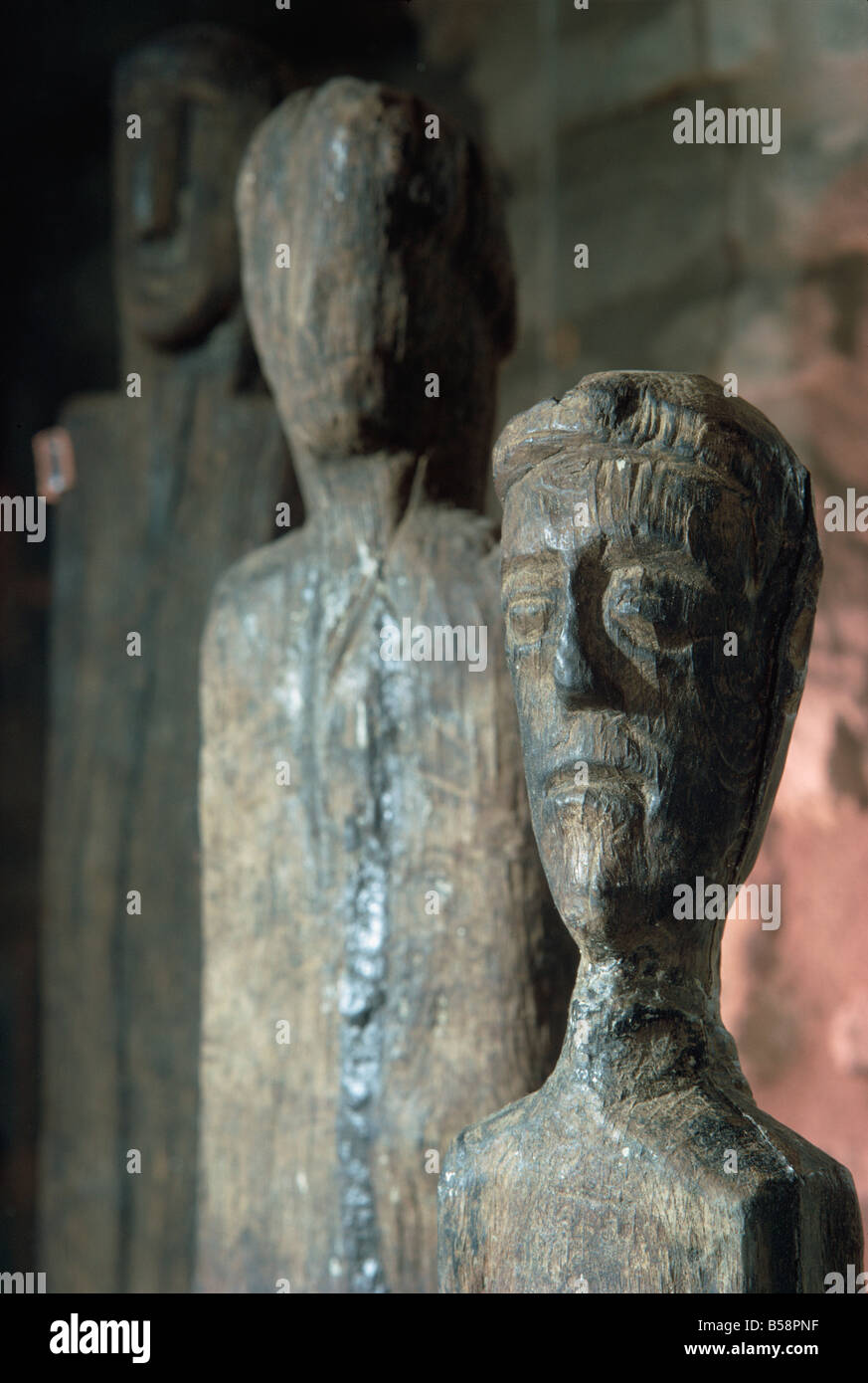 Statues of Gauls or Celts in oak, dating from around 200 BC, France, Europe - Stock Image