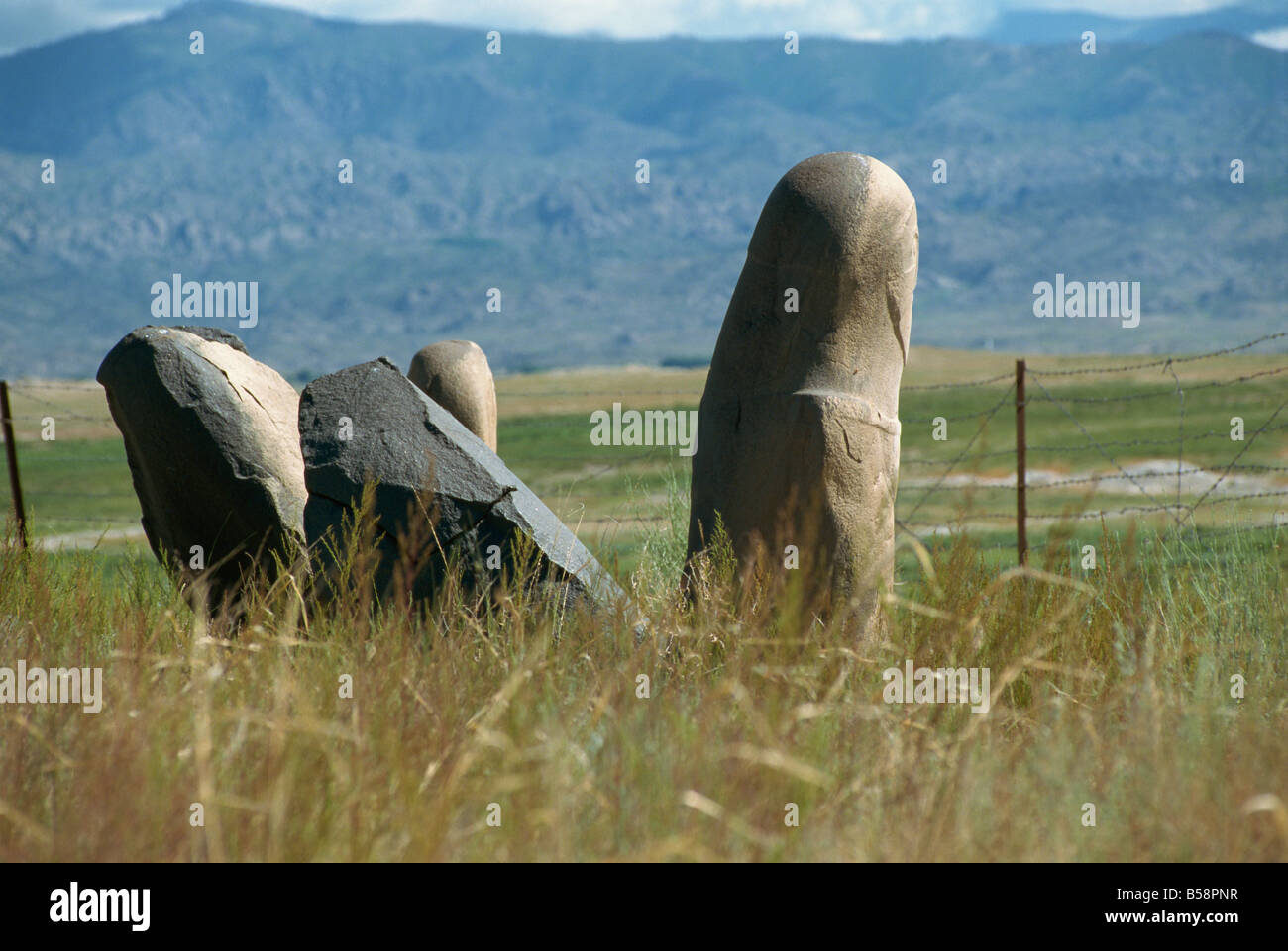 Turkic tombs dating from between the 2nd century BC and the 7th century AD, Kayinarl, Altay Mountains, northeast - Stock Image