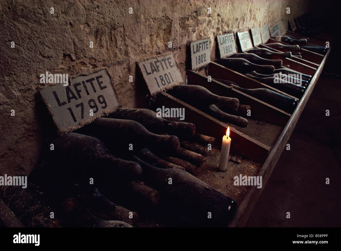 Cellars of Chateau Lafite Rothschild, Bordeaux, Aquitaine, France, Europe - Stock Image