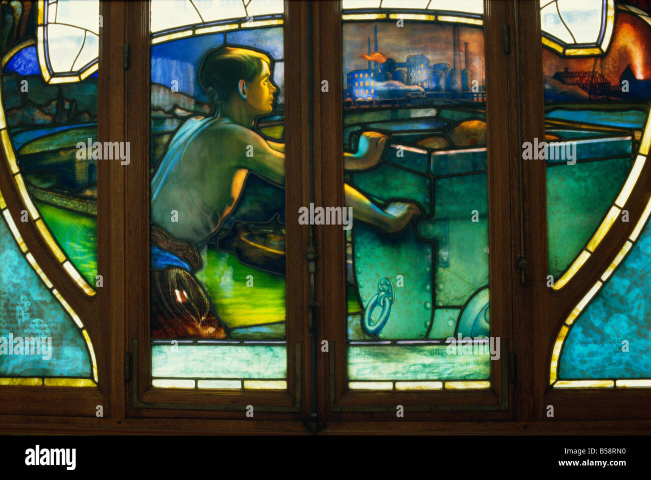 Detail of Art Nouveau stained glass, Chambres de Commerce, Nancy, Lorraine, France, Europe - Stock Image