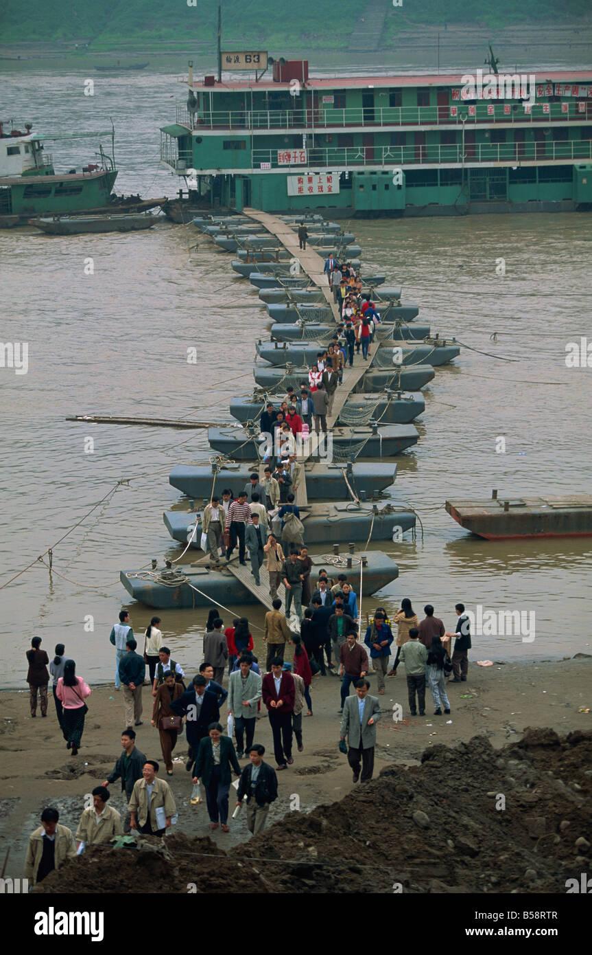 Pontoon dock for ferries, Chongqing, Sichuan, China - Stock Image