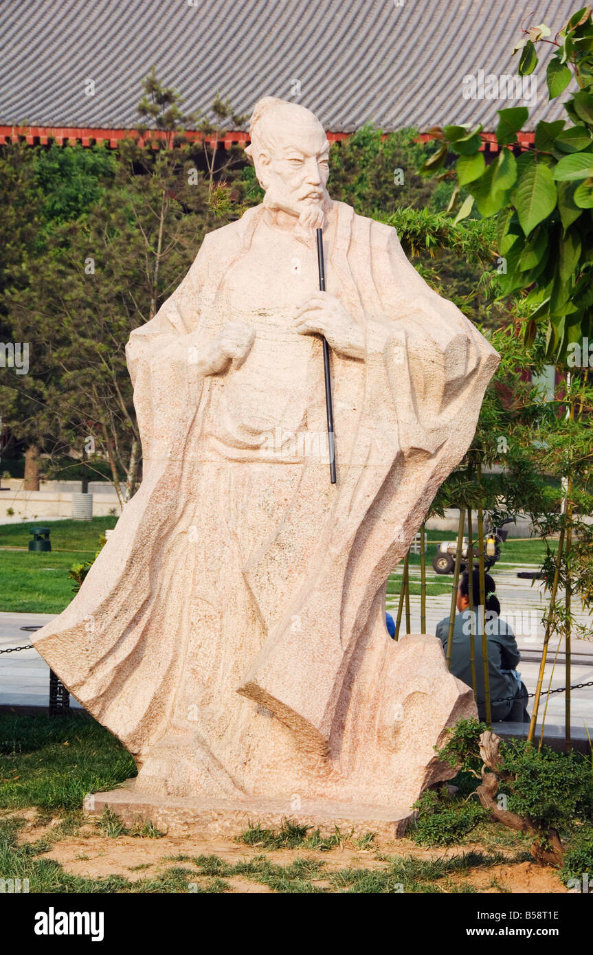 A statue of Wang Wei, 701-761, the poetic Buddha of Great Tang, at the Big Goose Pagoda Park, Xian City, Shaanxi - Stock Image