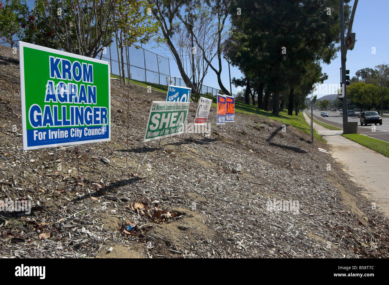 Local elections campaign placards, Irvine, Orange County, California, USA. 2008 - Stock Image