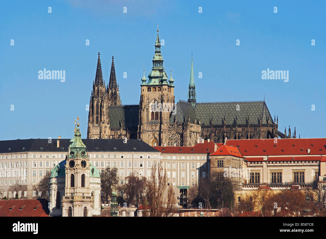 Hradcany - Cathedral of St Vitus in the Prague castle the coronation cathedral of the Bohemian sovereigns - Stock Image