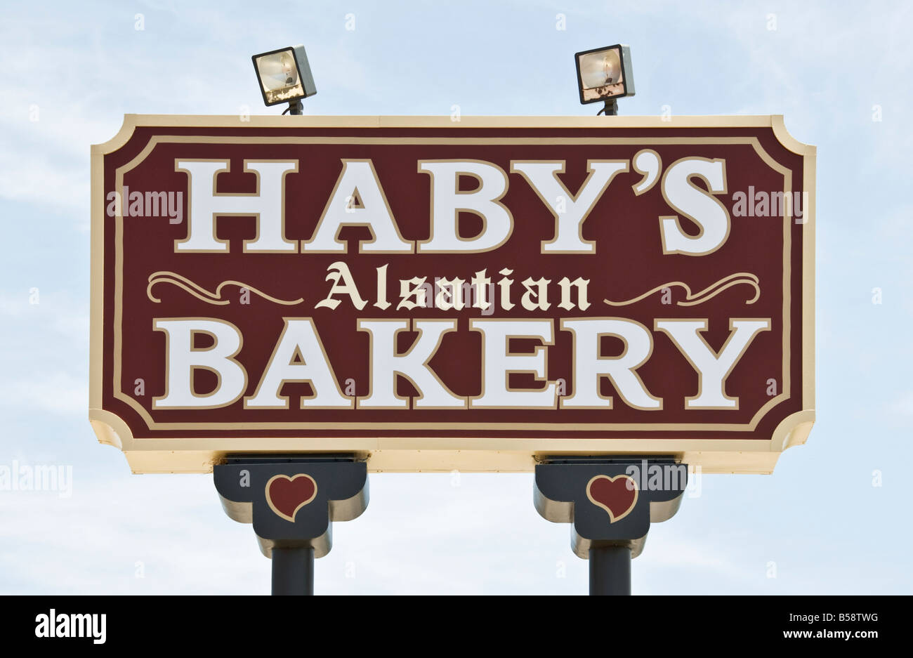 Texas Hill Country Castroville known as The Little Alsace of Texas Haby s Alsatian Bakery sign - Stock Image