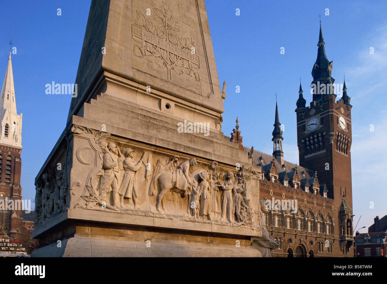 War Memorial, Armentieres, Nord Pas de Calais, France, Europe - Stock Image