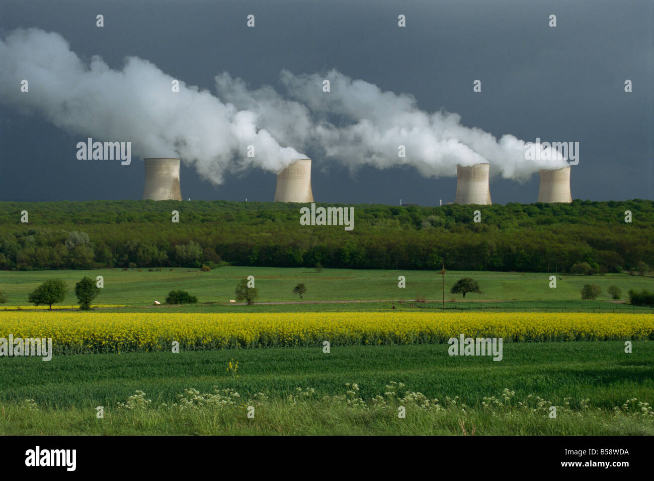 Central nuclear power plant Champagne Region France Europe - Stock Image