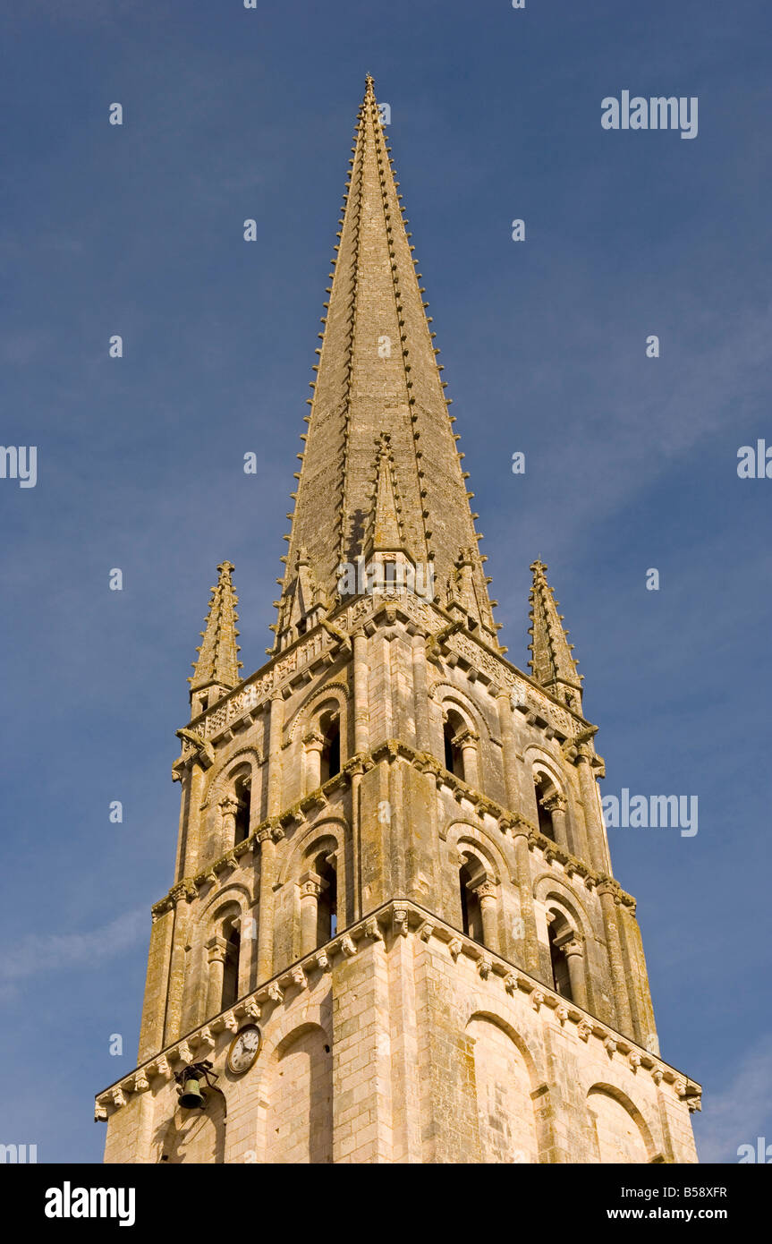 Spire of the abbey church of Saint-Savin sur Gartempe, known as the Romanesque Sistine Chapel, Vienne, Poitou-Charentes, - Stock Image