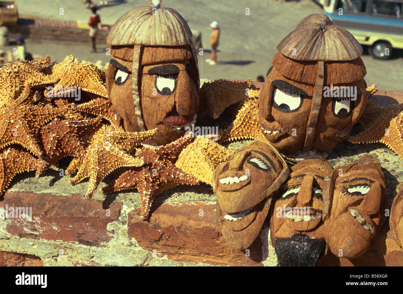 Masks and handicrafts Colombia South America - Stock Image