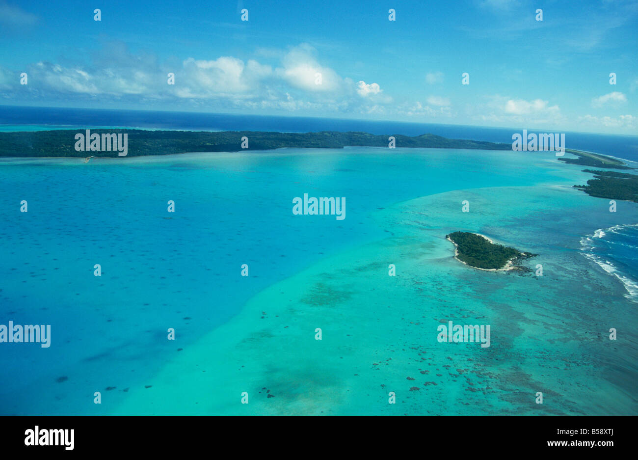Aerial of atoll and reefs, Aitutaki, Cook Islands, Pacific Islands, Pacific - Stock Image