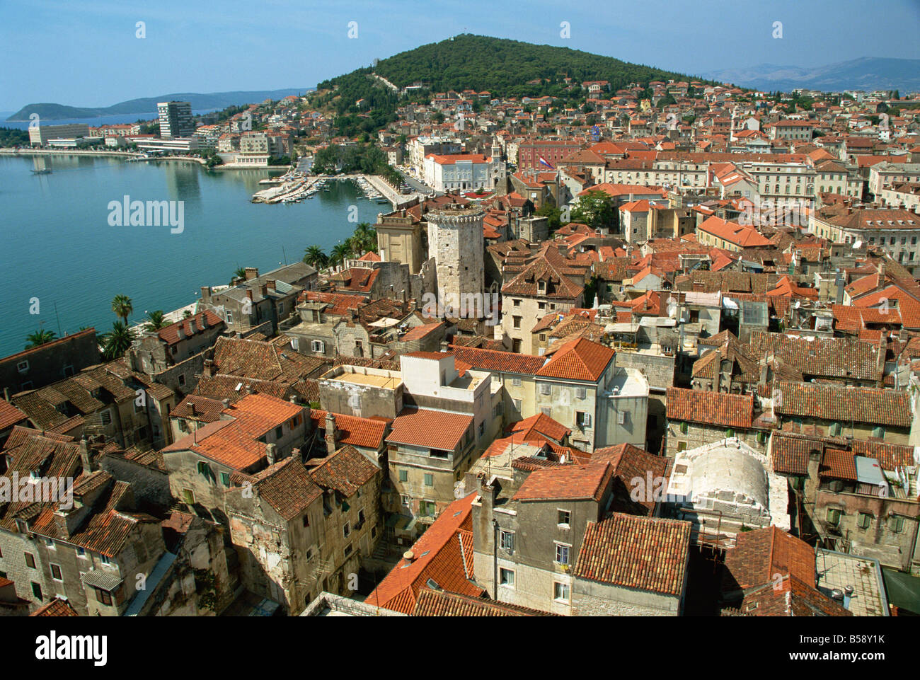 Roofscape of city from belltower Split Dalmatia Croatia Europe - Stock Image