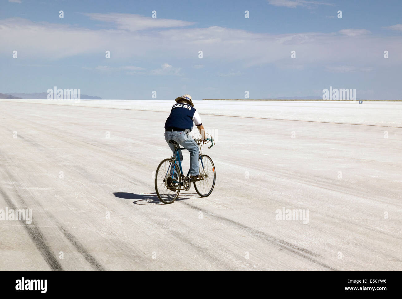 Cyclist on Great Salt Lake Bonneville USA Stock Photo