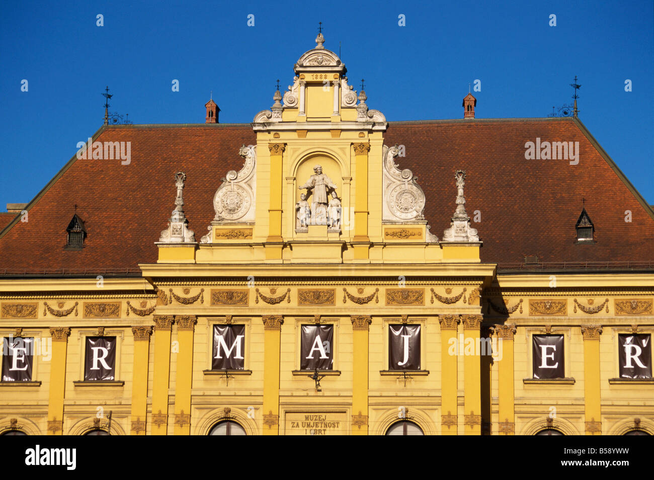 Close up of facade and roof of the building housing Arts and Crafts Museum in Zagreb Croatia Europe - Stock Image