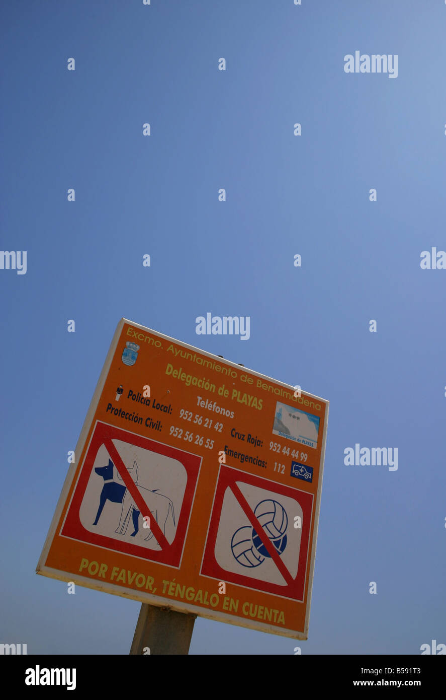 No dogs or ball games warning sign on the beach at Benalmadena Costa Del Sol Southern Spain Europe - Stock Image