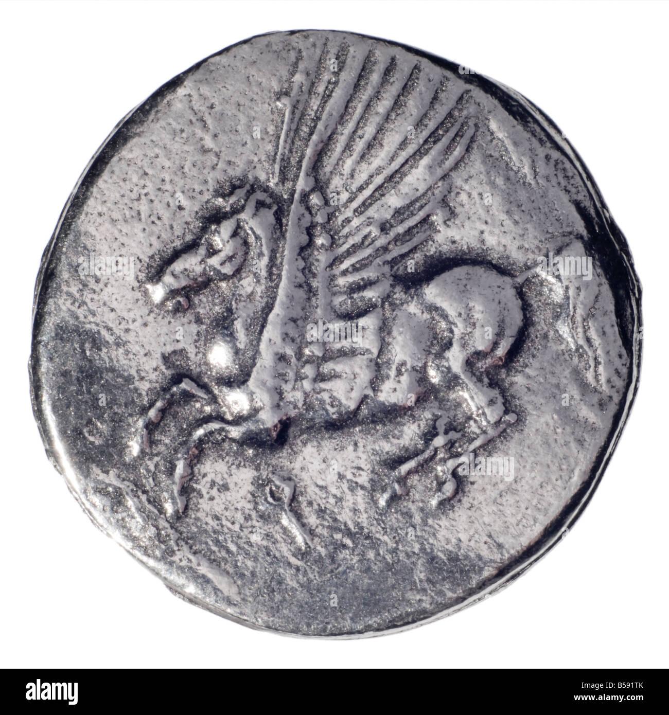 Ancient Greek Silver Coin (replica) Silver Didrachm of Corinth, 4thC BC. (Obverse: Athena) Reverse: Pegasus the - Stock Image