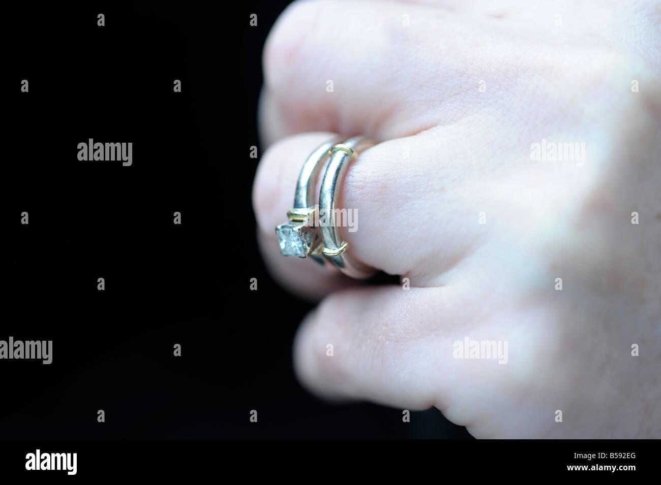 Female Woman Hand Wedding Engagement Ring Caucasian Hand Close Up
