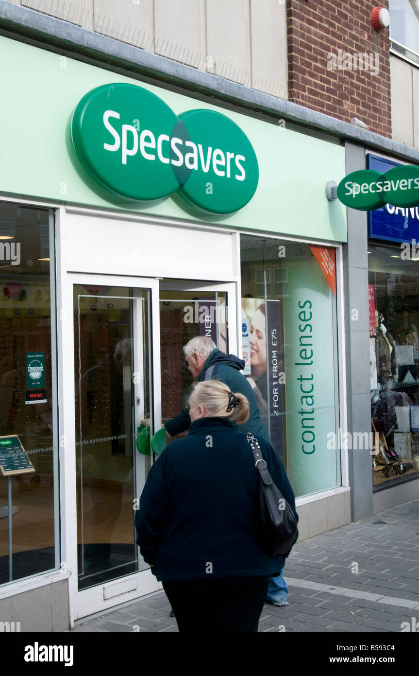 specsavers optician opticians high street chain shop budget glasses spectacles should have gone to Stock Photo