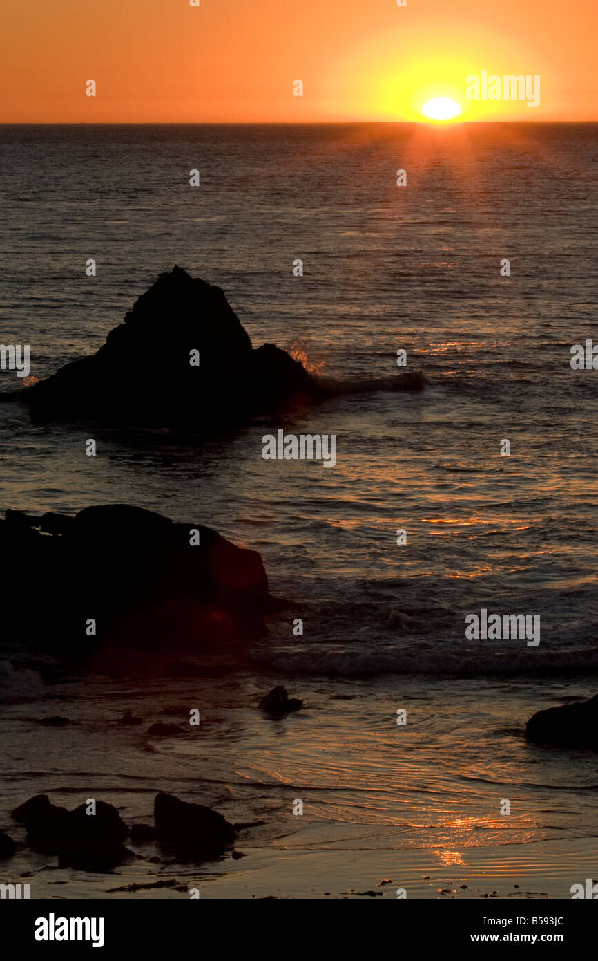 Sunset at the Beach Central California Coast - Stock Image