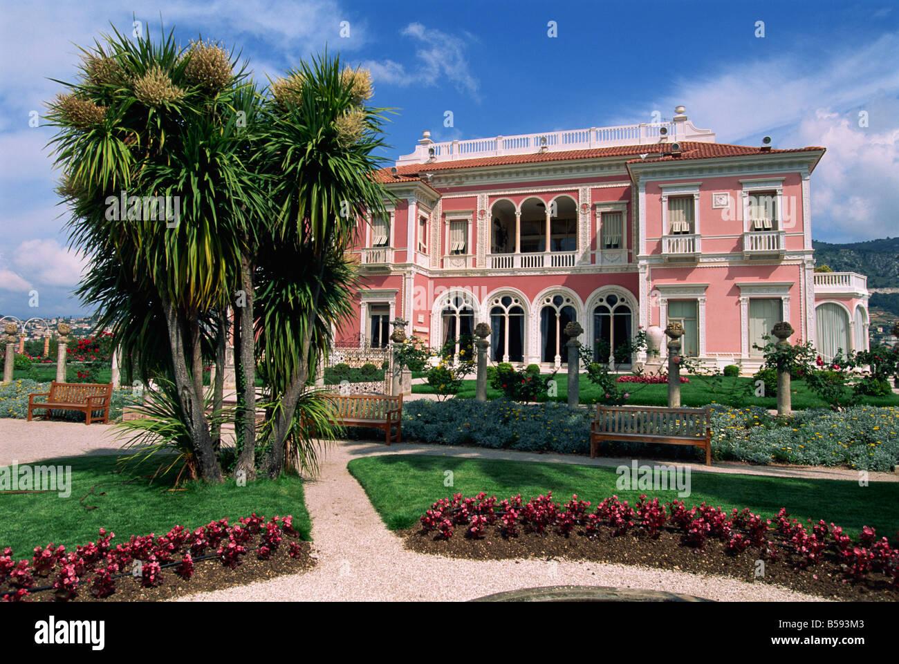 Gardens and villa Ephrussi de Rothschild at St Jean Cap Ferrat on the Cote da Azur Provence France G Thouvenin - Stock Image