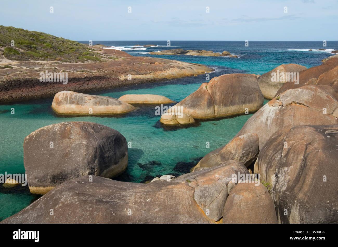 Elephant Rocks in Elephant Cove, William Bay, Western Australia - Stock Image