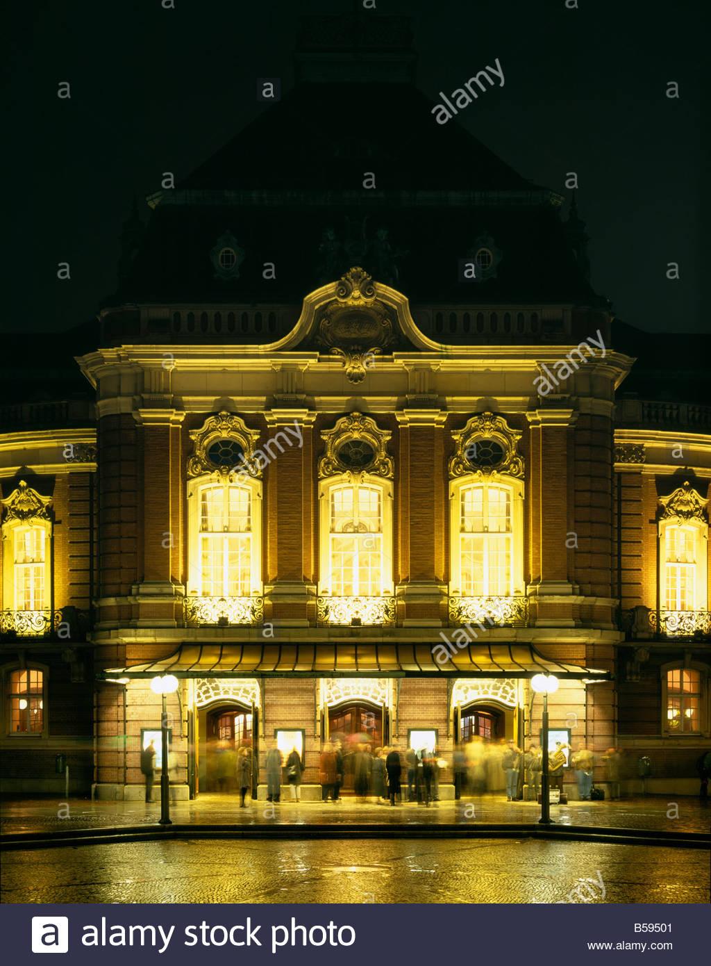 Hamburg, Musikhalle, Eingang Abends, Karl Muck Platz 20, Arch. Meerwein & Haller, 1904-1908 - Stock Image