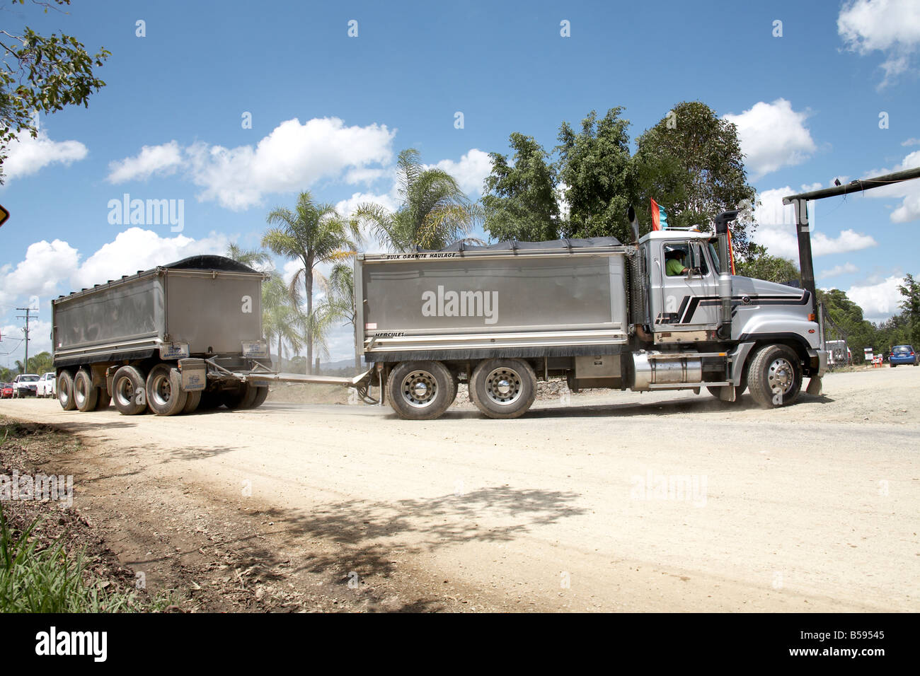 Large road train lorry or truck and trailer in Queensland QLD Australia - Stock Image