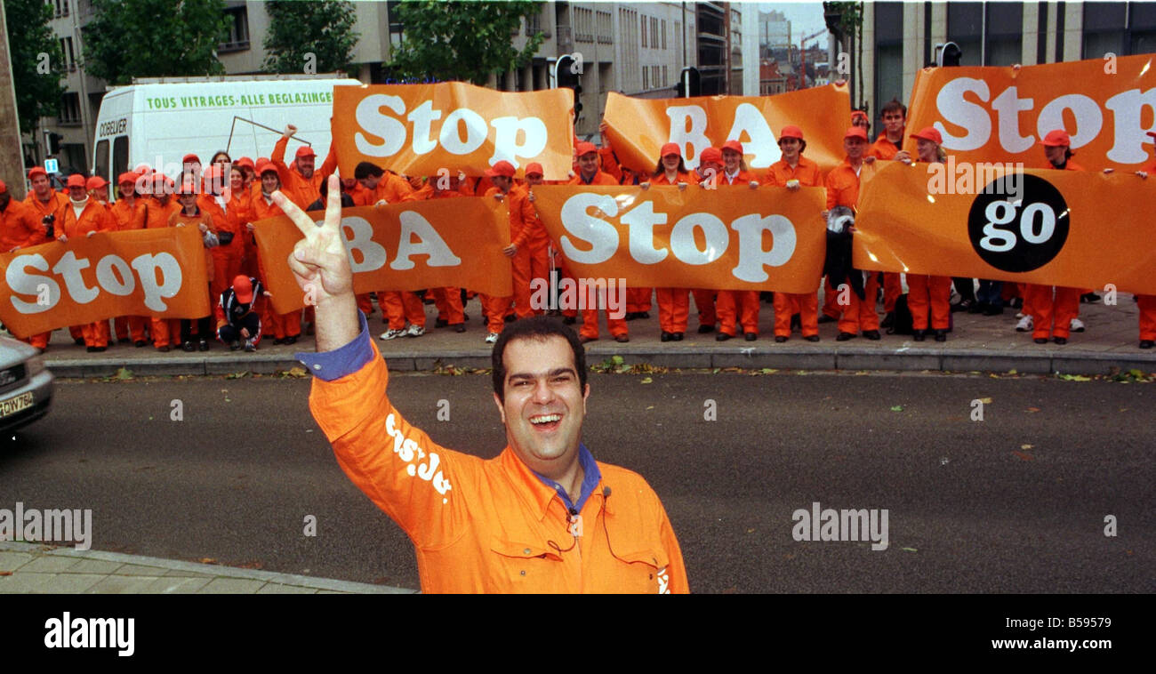 Easyjet Demonstration 1998 with Stelios Haji Ioannou Owner and workers and friends in Belgium to demonstrate at - Stock Image