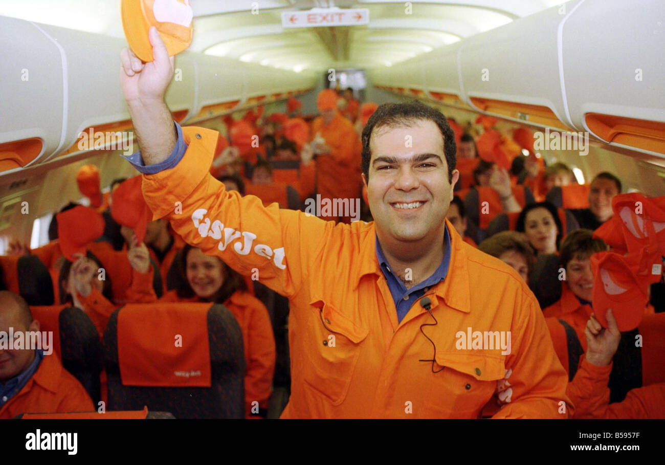 Easyjet Demonstration 1998 with Stelios Haji Ioannou Owner and workers and friends on Easyjet Boeing 737 300 Aircraft - Stock Image