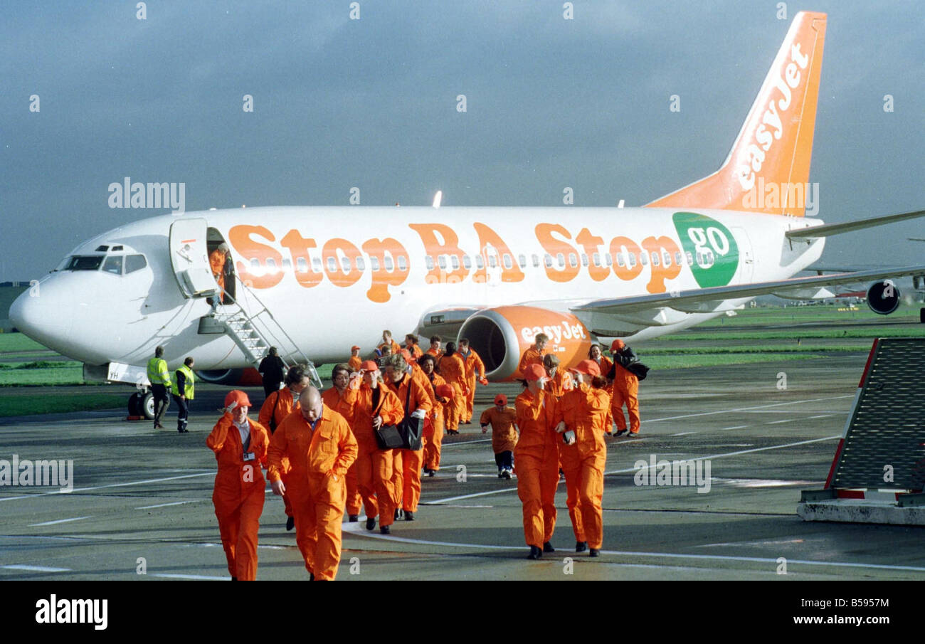 Easyjet Demonstration 1998 Easyjet Boeing 737 300 Aircraft at Brussels Airport with Stelios Haji Ioannou Owner and - Stock Image