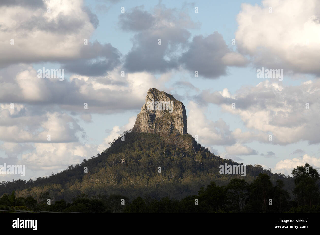Coonowrin mountain in Glasshouse Mountains National Park Snshine Coast Queensland QLD Australia - Stock Image