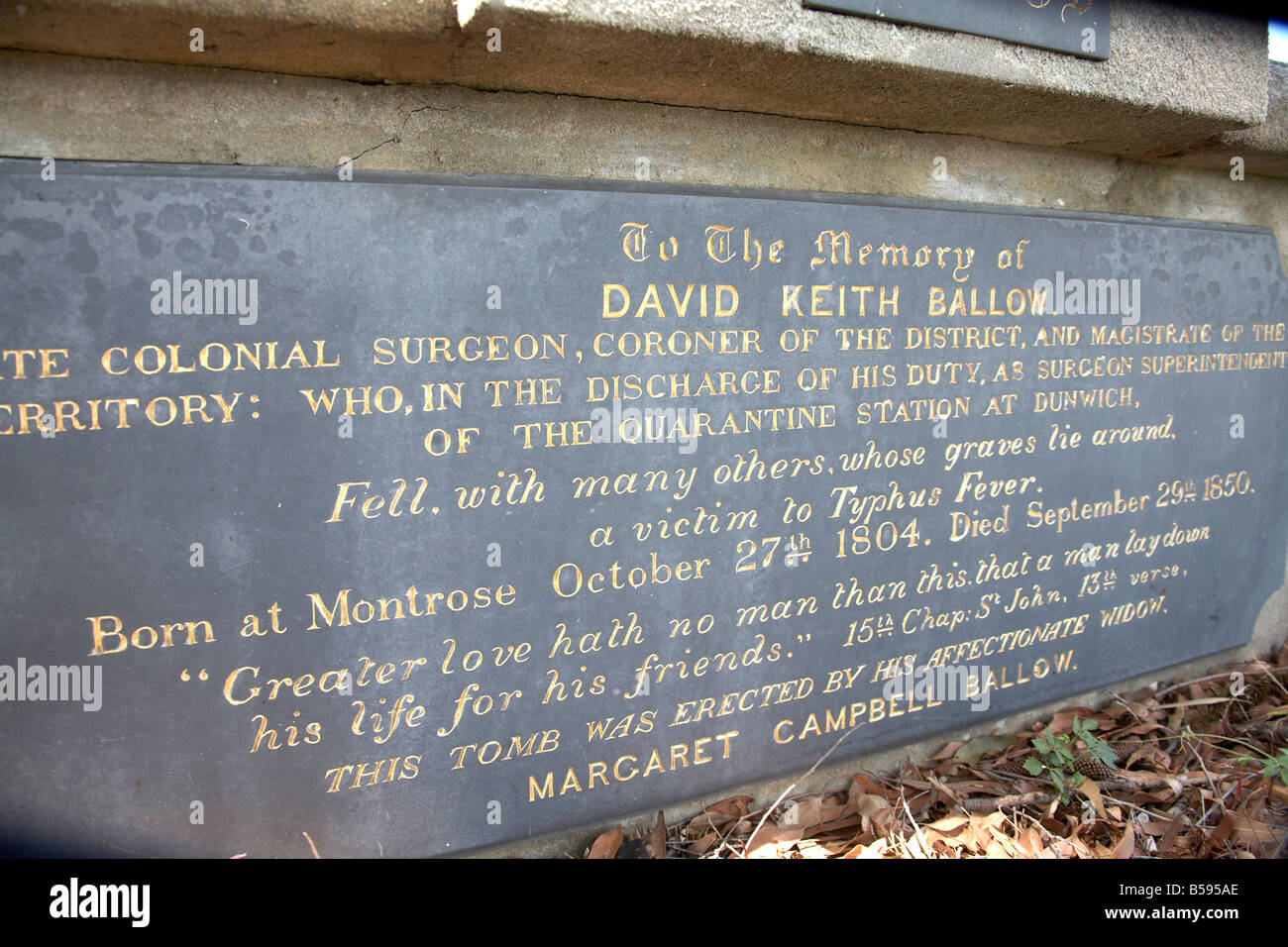Cemetry graveyard with memorial plaque to Colonial Surgeon David Ballow at Dunwich on Stradbroke Island Queensland - Stock Image