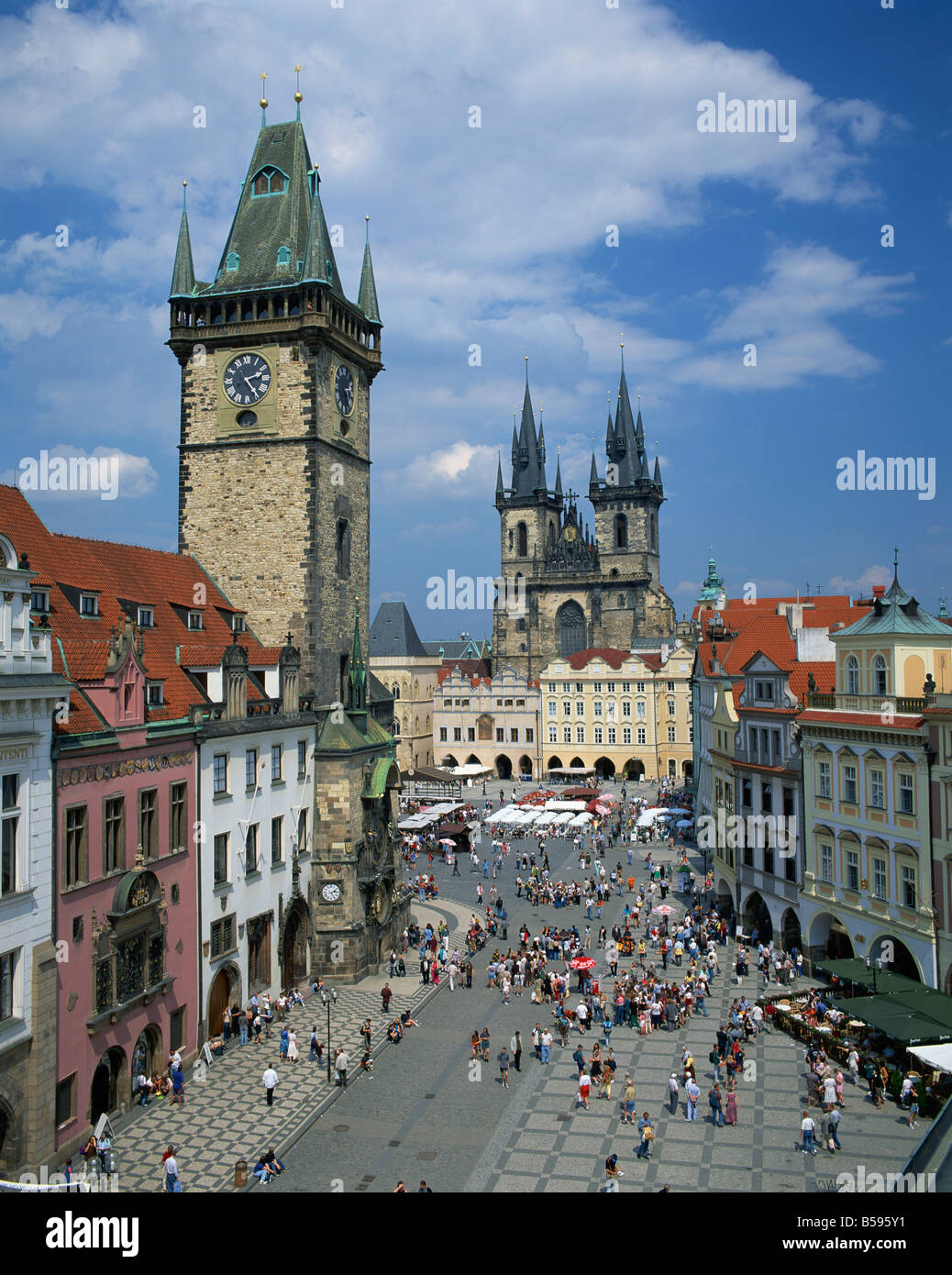 Stare Mesto Square the Gothic Tyn Church and Town Hall in the city of Prague Czech Republic G Hellier - Stock Image