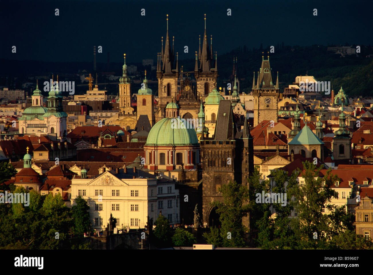 Aerial view over the Stare Mesto District including the Tyn Church the Prague Town Hall and the Charles Bridge Prague - Stock Image