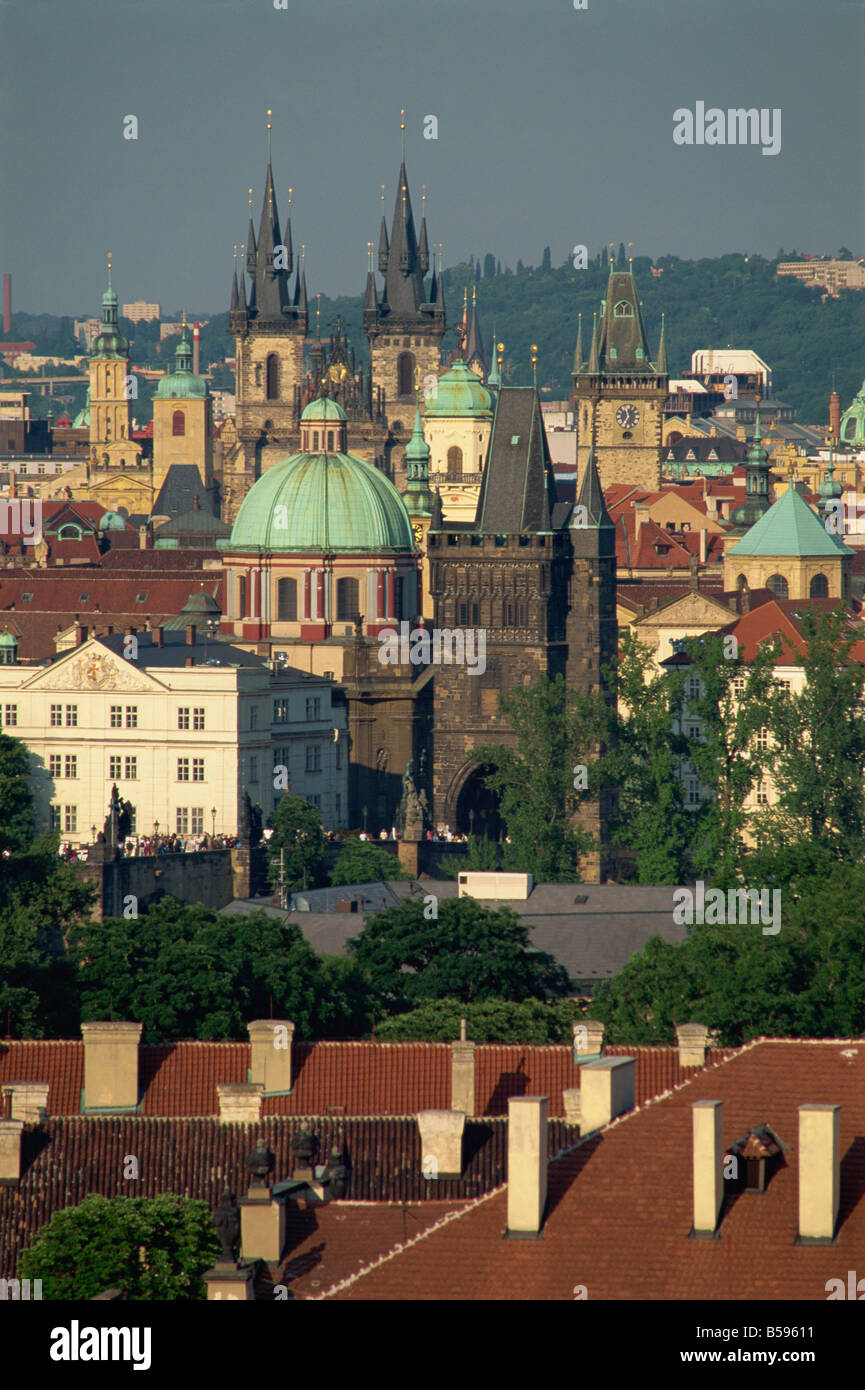 Skyline of the Stare Mesto district including Tyn Church Charles Bridge and Town Hall in the city of Prague Czech - Stock Image
